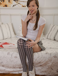Marvelous long haired shapely teen cutie in long socks hardcored and creamed on the bed.