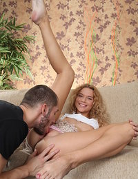 Neat blonde works huge dick