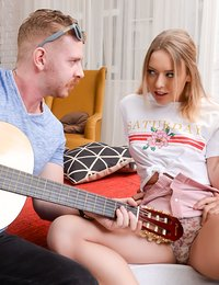 Danielle Soul and her boyfriend Toby are hanging out with talented Chad Rockwell who's playing music on his guitar for them. Kinky Danielle gets turned on by the musician's skills and whispers to her man her desire to get double penetrated in a threesome. And her wishes become a reality right then and there!